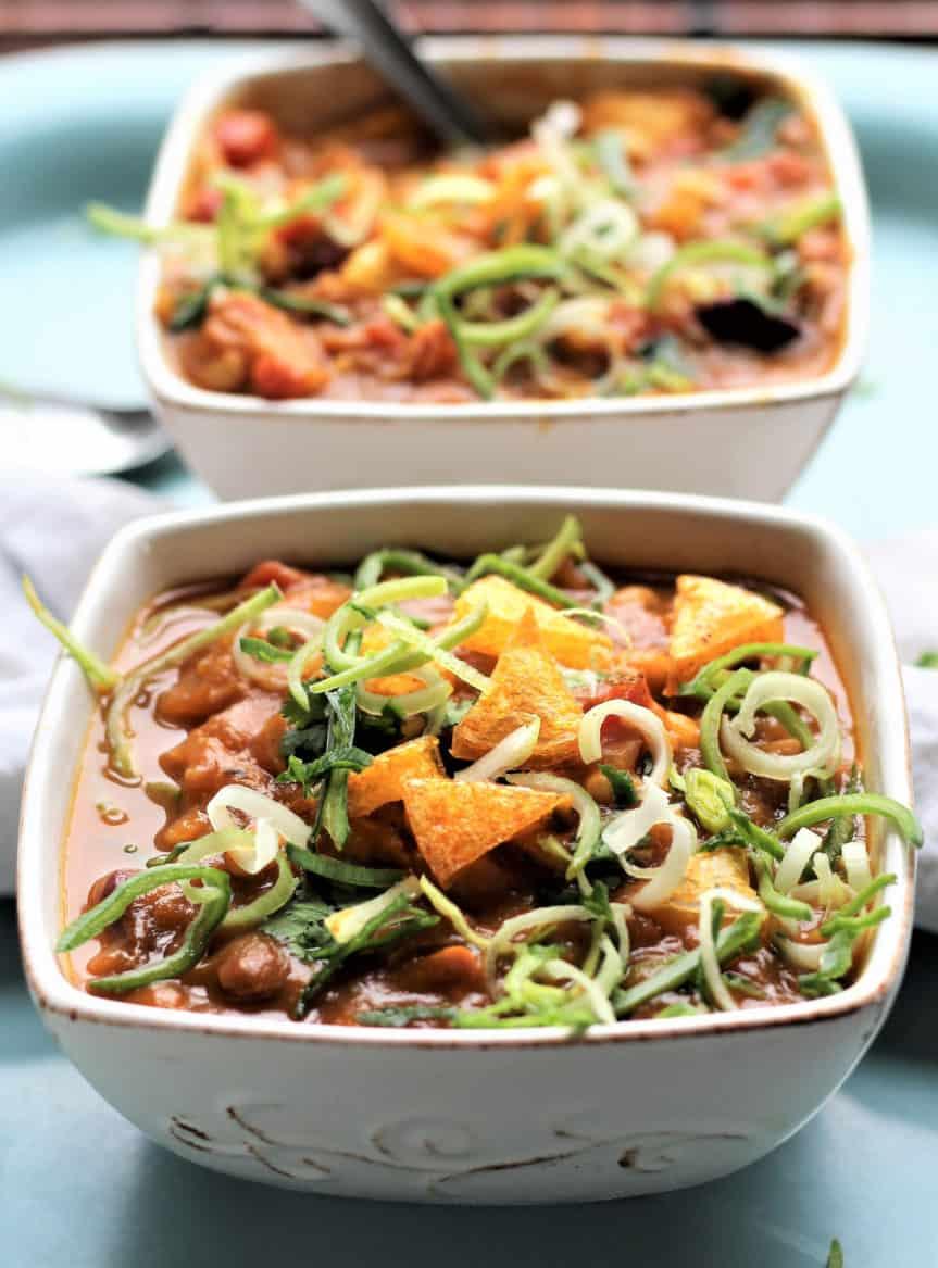 Vegan Pumpkin Chili With Polenta Croutons