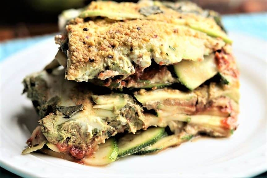 Raw Basil Pistachio Pesto Zucchini Lasagna