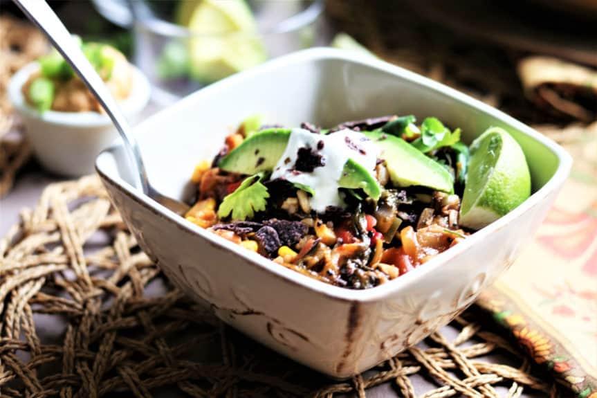 Jackfruit Rice Tortilla Soup With Mango Salsa