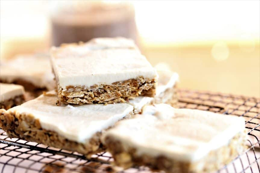Mulberry Oat Bars With Coconut Maple Glaze