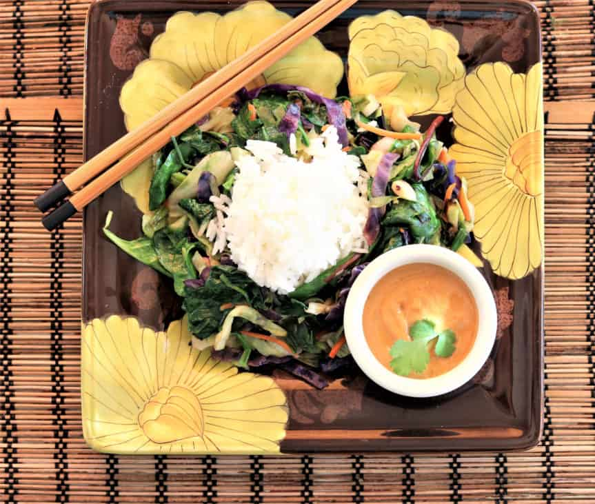 Power Greens Stirfry With Hot Peanut Dressing