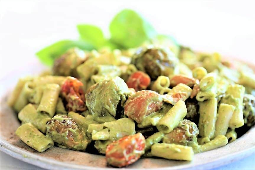 Roasted Tomato and Brussel Sprouts + Pasta With Pesto