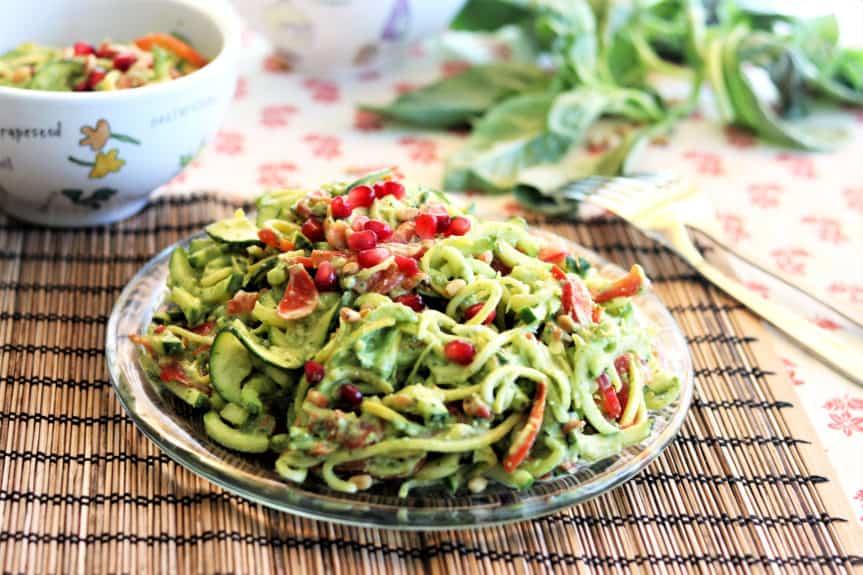 Zoodles With Avocado Basil Pesto