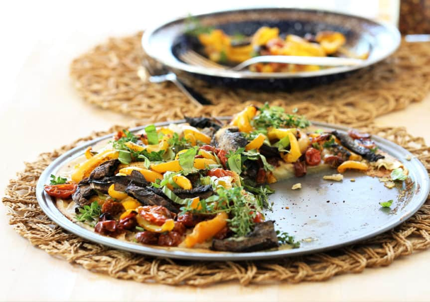 Grilled Veggie and Herb Pizza With Garlic Cashew Cheese
