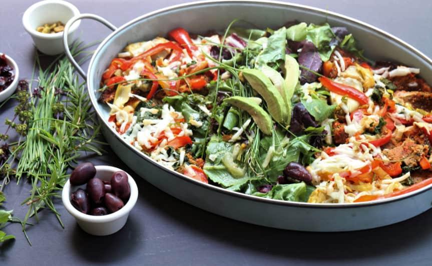 Cauliflower Crust Vegetable Pizza Salad Platter